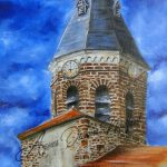 Le clocher de Siaugues Ste Marie - Acrylique